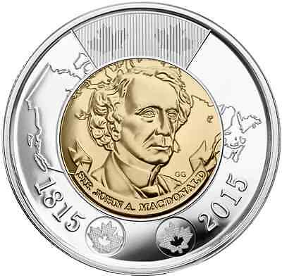 2015 $2 Sir John A. MacDonald Canadian Toonie Two Dollar Coin **No Tax**