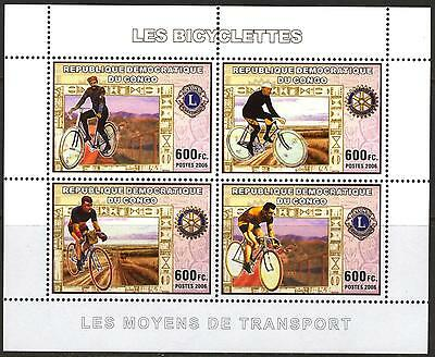 Congo 2006 Sports Cycling Bicycles Rotary Lions Club Sheet of 4 MNH**