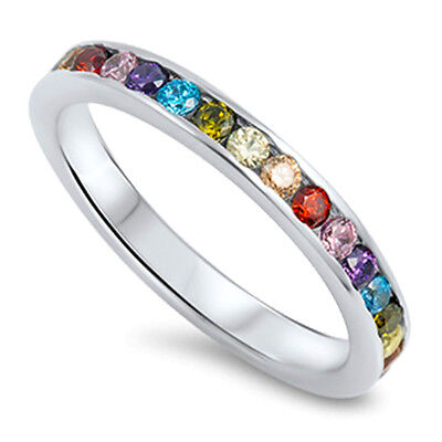 Eternity Multi Color Stackable Sapphire CZ 925 Solid Sterling Silver Ring 3 - 12