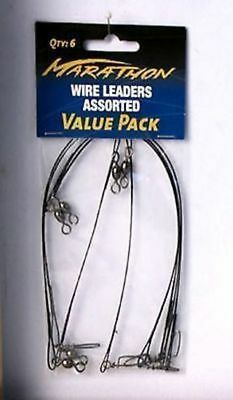 100 x 6 pack Fishing Wire leaders asstd size 6 9 12 inch Bulk wholesale lot