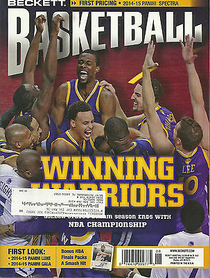 Beckett Basketball Card Monthly Price Guide Aug 2015 Warriors Cover
