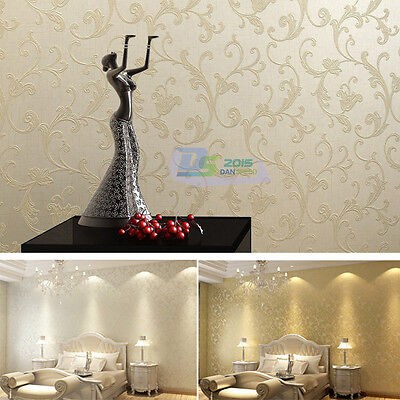 Gold Off White 10M Non-woven Wallpaper Roll Bedroom TV Background Wall Decor