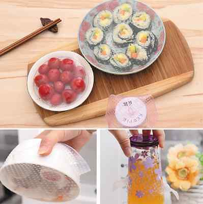 4x Kitchen Tools Reusable Silicone Food Wrap Seal Cover Stretch Cling Film Yunos