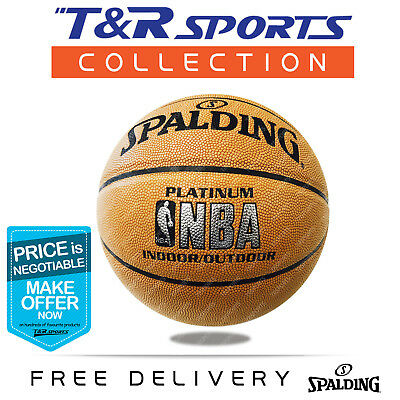 Size 7 Spalding Red Blue Man Leather Basketball Ball Indoor Outdoor Free Deliver