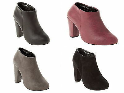 Womens Fashion Block Heel Zip Casual Ankle Boots Shoes Booties Ladies Uk 3-8