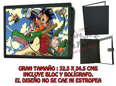 CARPETA DRAGON BALL PERSONAJES DRAGÓN BOLA Z LONETA NEGRA FOLDER bloc notas es