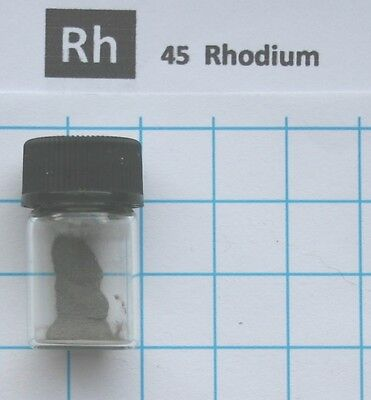 0.2 gram 99.95% Rhodium metal powder in glass vial element 45 sample