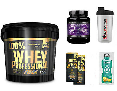 100% Whey Protein Chocolate 5 Kg Gold's  + Omaggio Bcaa 6400 375 Cpr Scitec