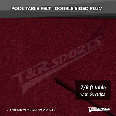 New! Plum Double-Sided Wool Pool Snooker Table Cloth/felt 6X Strips Suit 7''8''