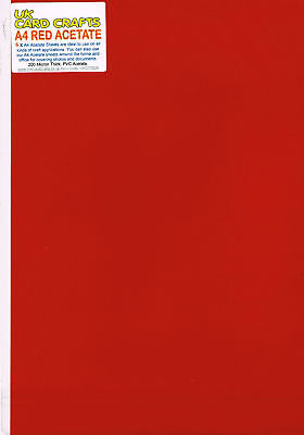 A4 Red Acetate X 5 Sheets - Coloured, UK Card Crafts