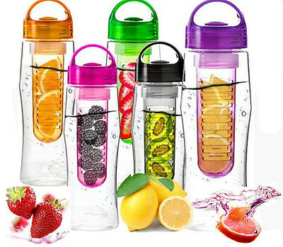 800ML Fruit Infusion Infusing Infuser Water Bottle Sports Health Maker F AUK