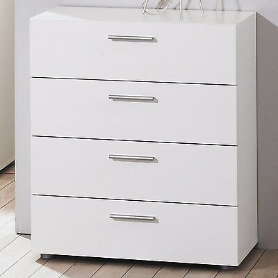 Modern White Simple Billi Pepe 4 Drawer Chest of Drawers Storage