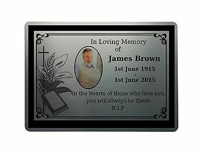 "5x7"" MEMORIAL PLAQUE 2 PHOTO Metal Aluminium Sign Plaques Custom Personalised"