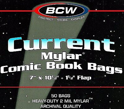 100 Current Comic 2 mil Mylar Bags and Boards Acid Free Store Modern Comic Book