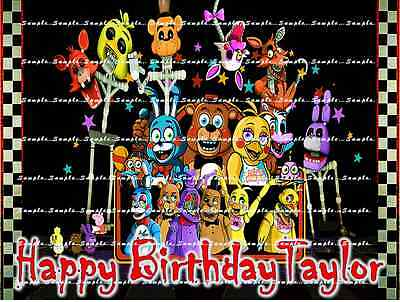 FNAF FRIDAY NIGHT AT FREDS: Personalized edible cake toppers FREE SHIPPING