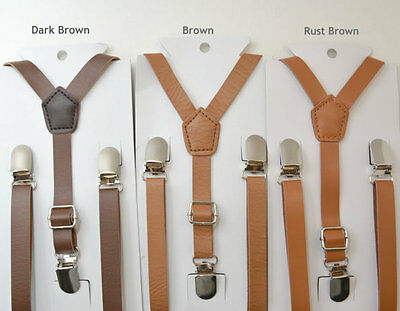 NEW Skinny Pu Leather Suspenders Y-Back Kids Baby Boys Mens 6mon - ADULT Brown