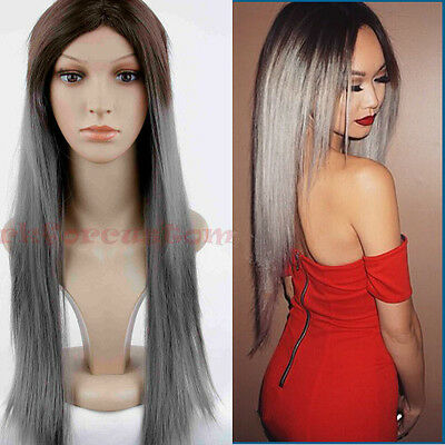 Lady Long Straight Ombre Brown to Grey African Wig Heat Resistant Wig Synthetic