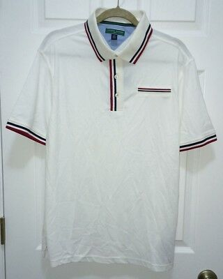 341a3f9b03b5f TOMMY HILFIGER GOLF White Navy Blue Red S S Pique Polo Shirt NEW Mens S M L