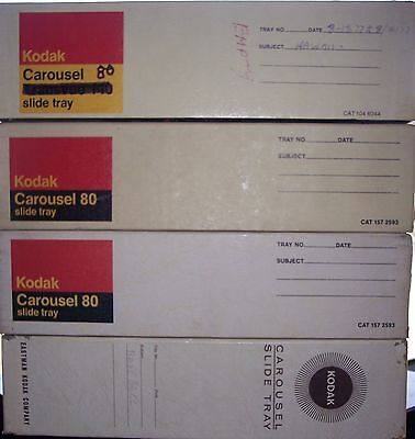 4 vintage Kodak CAROUSEL SLIDE TRAYS with boxes each holds 80 slides