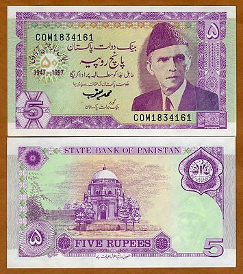 Pakistan, 5 Rupees, 1997, Pick 44, UNC   Commemorative