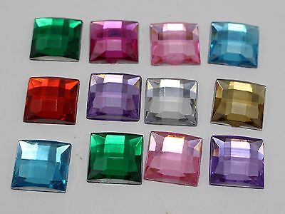 100 Mixed Color Acrylic Flatback Faceted Square Rhinestone Gems 12X12mm No Hole