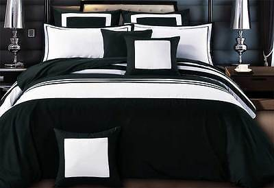 Luxton queen / super KING black white Quilt Cover Set hotel style doona Cover