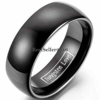 8mm Polish Classic Black Dome Tungsten Carbide Ring Comfort Fit Wedding Band