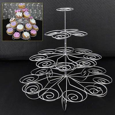 4 Tier Metal Cupcake Stand Holder Tower Wedding Party Dessert Carrier Display