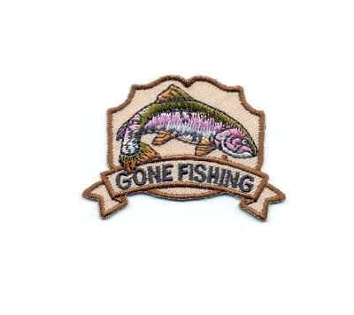 """Fishing - """"Gone Fishing"""" - Sports - Crafts - Embroidered Iron On Patch  - B"""