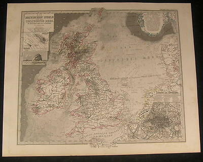 Great Britain Ireland Wales Isle of Man England 1875 old engraved hand color map
