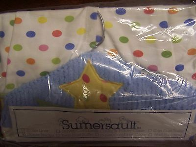 NEW NIP SUMERSAULT White with Multi-dot & Blue Chenille Star top DIAPER STACKER