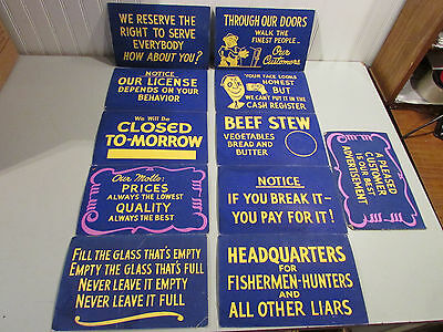 Vintage Retail Service Signs Lot of 11 Different Signs For the Retail Shop