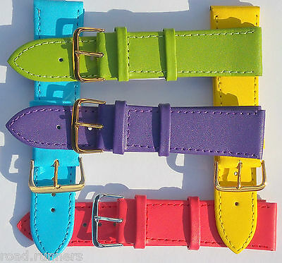 Watch Straps Pastel Metal Buckle Genuine Leather Band Ladies Many Colours 6-22mm