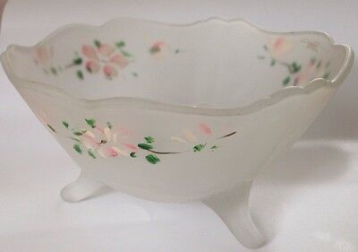 """Vintage Frosted White Depression Glass 3-Footed Bowl w Hand Painted Flowers 7.5"""""""