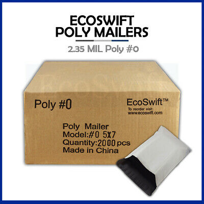 2000 5x7 WHITE POLY MAILERS SHIPPING ENVELOPES SELF SEALING BAGS 2.35 MIL 5 x 7