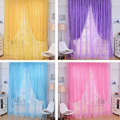 Home Door Window Floral Flower Curtain Drape Panel Voile Valances Scarf Sheer