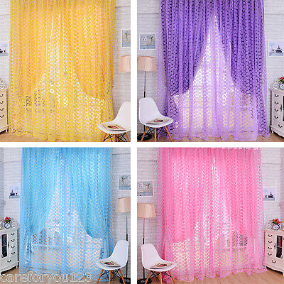 Valances Rose Floral Tulle Voile Door Window Curtain Drape Panel Sheer Screen