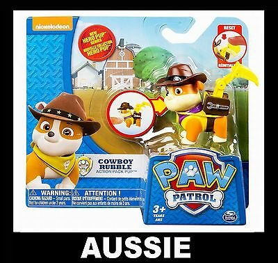 PAW PATROL Action Pack Hero Pup ~ COWBOY RUBBLE ~ NEW