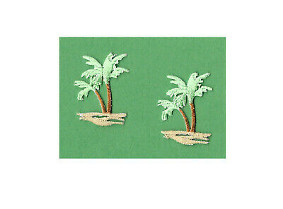 Palm Tree - Tropical - Beach - Embroidered Iron On Applique Patch- Set Of 2