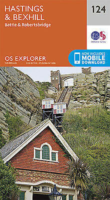 Hastings and Bexhill 124 Explorer Map Ordnance Survey With Digital Download