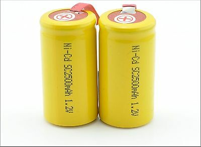 16 x Sub C Battery 1.2V 2500mAh NiCd Rechargeable Battery with Tab yellow