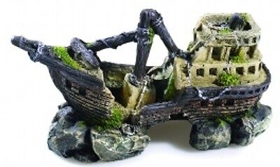 Aquarium Fish Tank Galleon Shipwreck Ornament Cave Decoration Classic 2680