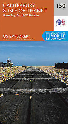 Canterbury and the Isle of Thanet 150 Explorer Map Ordnance Survey With Digital