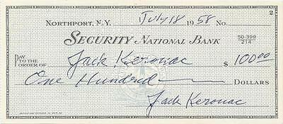 Jack Kerouac- Bank Check Signed 3 Times from 1958