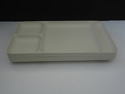 Vintage Tupperware Lot of 4 DIVIDED LUNCH DINNER SERVING TRAYS Almond USA Nice!