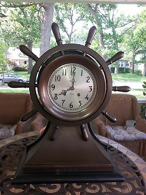 "Antique Chelsea Nautical Ship's Wheel Brass/Bronze 6"" Dial Mantel Clock C1920s"
