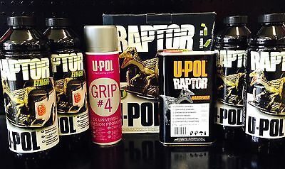 Raptor By U-Pol Upol Bed Liner Kit Tintable Any Colour And Adhesive Spray 2Pack