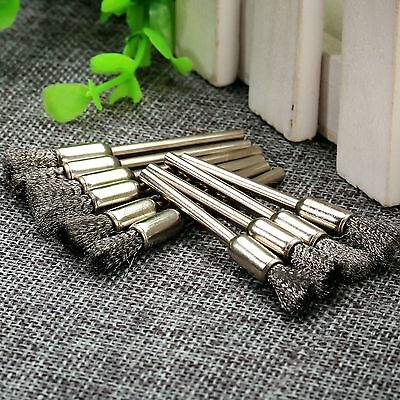 "10pcs Pen Shape 6mm End Stainless Steel Wire Brushes 1/8"" Shank Rotary Polishing"