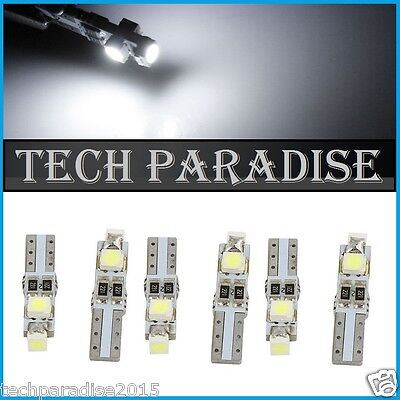 6x Ampoule T5 W1.2W (B8.5D) CanBus Anti erreur 3 LED SMD Blanc White Neo Wedge