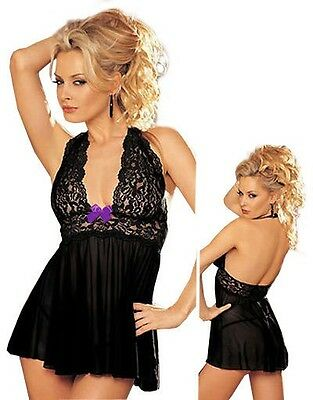Black Lace Lingerie Babydoll Dress Chemise Nighty Plus Size 8-24 S-6XL